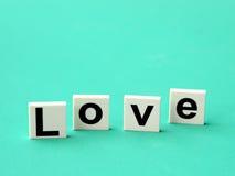 Amour de Word sur le fond bleu Images libres de droits