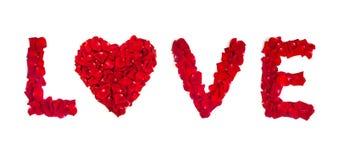 Amour des pétales de rose d'isolement sur le blanc Images stock