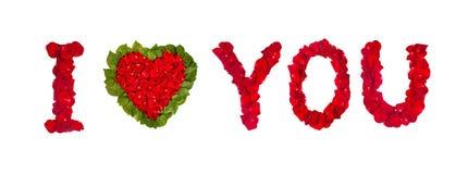 Amour des pétales de rose d'isolement sur le blanc Photographie stock