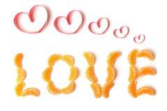 Amour des segments de mandarine Images stock