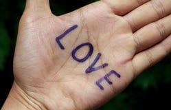 Amour des textes en main et fond d'arbre de tache floue Photo libre de droits