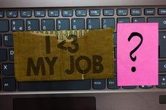 Amour des textes I d'écriture de Word mon travail Concept d'affaires pour indiquant à quelqu'un que vous admirez votre clavier ac image stock