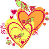 Amour : deux coeur et oiseaux Photos libres de droits