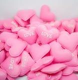 Amour doux de coeur de rose en pastel avec le whitebackground Photos stock