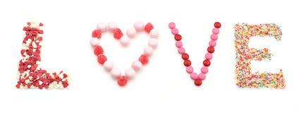 Amour doux de mot fait de sucreries Image stock