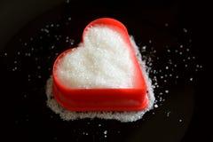 Amour doux de sucre en rouge et noir blancs Images libres de droits