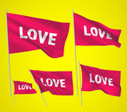 Amour - drapeaux roses de vecteur Photos stock