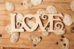 AMOUR en bois d'inscription Images stock