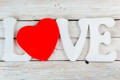 Amour en bois d'inscription Photos stock