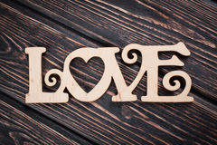 AMOUR en bois d'inscription Images stock