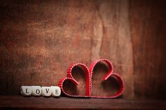 Amour en bois de forme de coeur de fond Photo stock