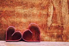 Amour en bois de forme de coeur de fond Images libres de droits