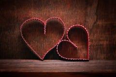 Amour en bois de forme de coeur de fond Photos libres de droits