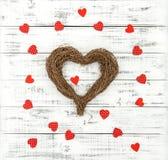 Amour en bois de jour de valentines de fond de coeur Photo libre de droits