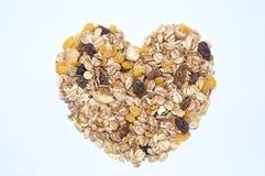 Amour en forme de coeur de farine d'avoine Images libres de droits