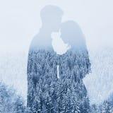 Amour en hiver, double exposition Photo libre de droits
