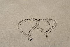 Amour en sable Images libres de droits