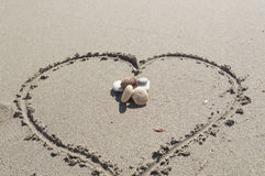 Amour en sable Image libre de droits