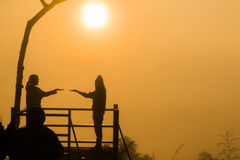 Amour en silhouette Photographie stock