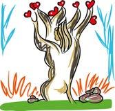 Amour et arbre de l'amour illustration de vecteur