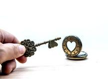 Amour et clé Photographie stock