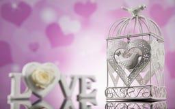 Amour et coeur en bois de lettres Images libres de droits