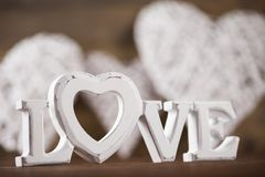Amour et coeur en bois de lettres Photographie stock libre de droits