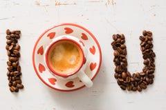 Amour et concept de café - I vous écrit Photo libre de droits
