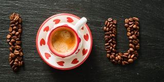 Amour et concept de café - I vous écrit Image stock