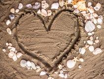 Amour et coquilles Photographie stock libre de droits