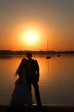 Amour et coucher du soleil Image libre de droits