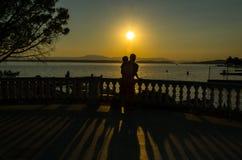 Amour et coucher du soleil dans Crikvenica Photographie stock