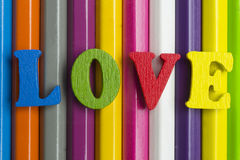 Amour et crayons Photo stock
