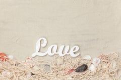 Amour et filet de Word avec des coquilles Photo libre de droits