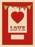 Amour et fond rouge de coeur illustration libre de droits