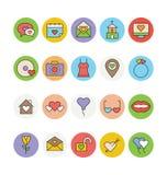 Amour et icônes colorées Romance 4 de vecteur Image libre de droits