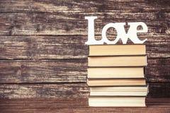 Amour et livres de Word Photos stock