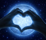 Amour et lune Images stock