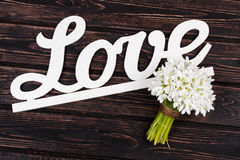 Amour et perce-neige d'inscription sur le bois Images stock