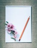 Amour et romance Crayon et papier pour des notes Lettre d'amour tendre Photographie stock libre de droits