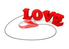 Amour et souris d'ordinateur Image stock