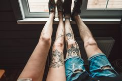 Amour et tatouage Photographie stock libre de droits