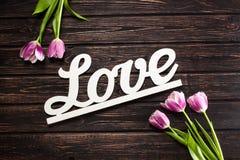 Amour et tulipe d'inscription Photo libre de droits