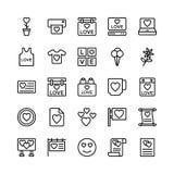 Amour et Valentine Line Vector Icons 16 Image stock