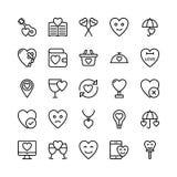 Amour et Valentine Line Vector Icons 18 illustration stock
