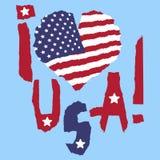 Amour Etats-Unis, Amérique Drapeau national de vintage en silhouette de style grunge de papier de texture déchiré par coeur Fond  Images libres de droits