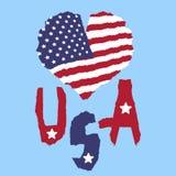 Amour Etats-Unis, Amérique Drapeau national de vintage en silhouette de style grunge de papier de texture déchiré par coeur Fond  Photographie stock libre de droits
