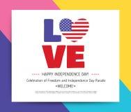 Amour Etats-Unis, Amérique Jour de la Déclaration d'Indépendance heureux illustration libre de droits
