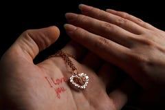 Amour-faveur avec deux mains Photos libres de droits