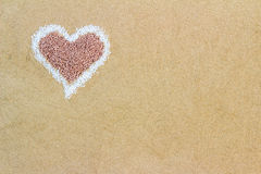 Amour; grains; heart; love; lover; romance; romantic; sand; shap Royalty Free Stock Images